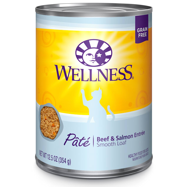 Wellness Complete Health Natural Grain Free Beef & Salmon Pate Wet Cat Food, 12.5 oz, Case of 12 - Carousel image #1