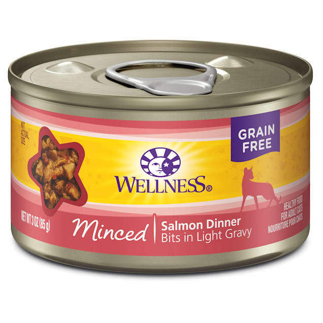 Wellness Natural Grain Free Minced Salmon Dinner Wet Cat Food, 3 oz., Case of 24 - Carousel image #1