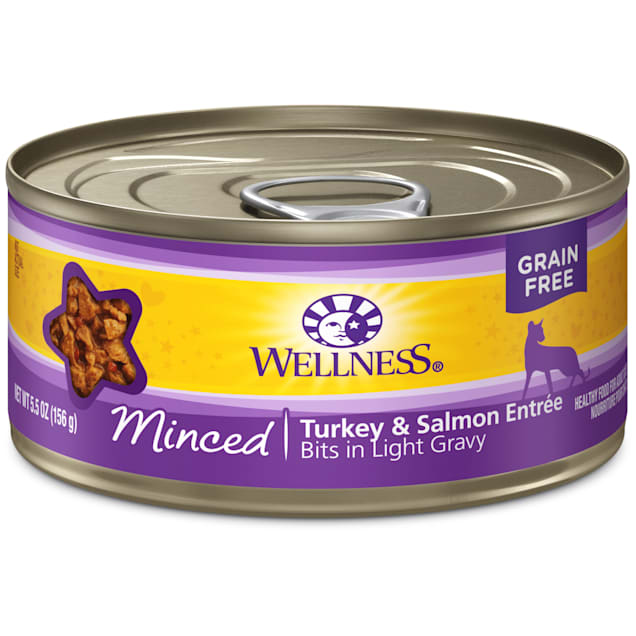 Wellness Natural  Grain Free Minced Turkey & Salmon Entre Wet Cat Food, 5.5 oz, Case of 24 - Carousel image #1