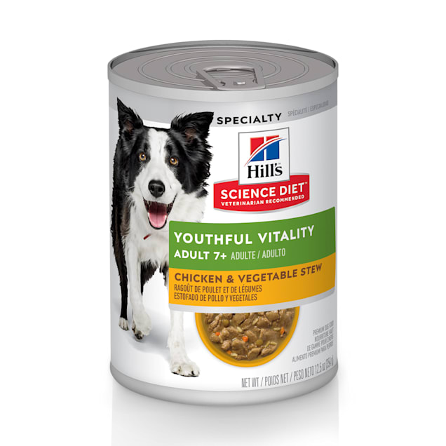 Hill's Science Diet Adult 7+ Senior Vitality Chicken & Vegetable Stew Canned Dog Food, 12.5 oz. - Carousel image #1