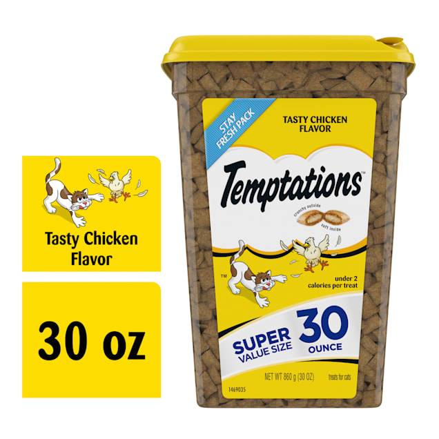 Temptations Classics Tasty Chicken Flavor Crunchy and Soft Cat Treats, 30 oz. - Carousel image #1