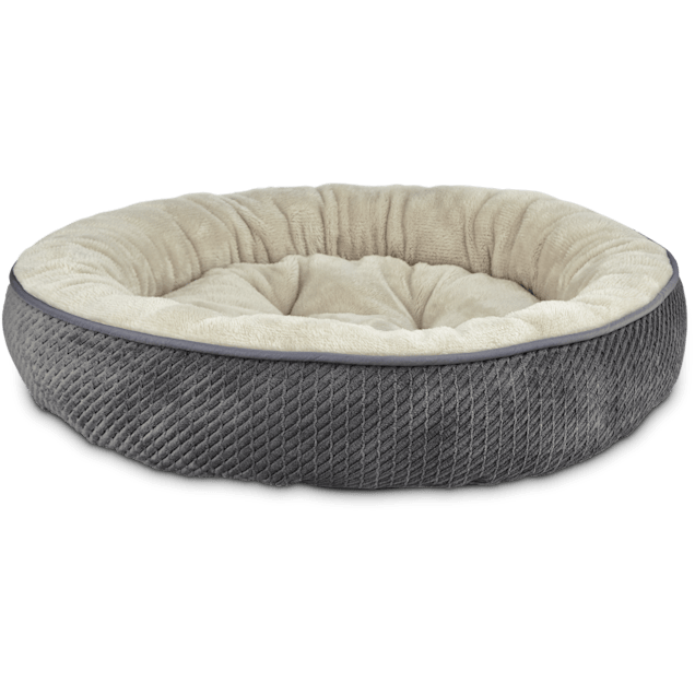 "Harmony Textured Round Cat Bed in Dark Grey, 20"" L x 20"" W - Carousel image #1"