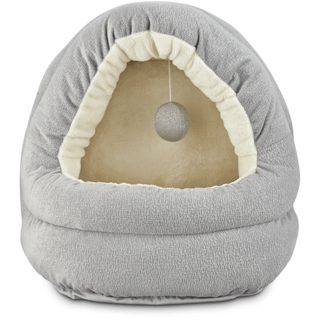 """Harmony Hooded Cave Cat Bed in Grey, 17"""" L x 15"""" W - Carousel image #1"""
