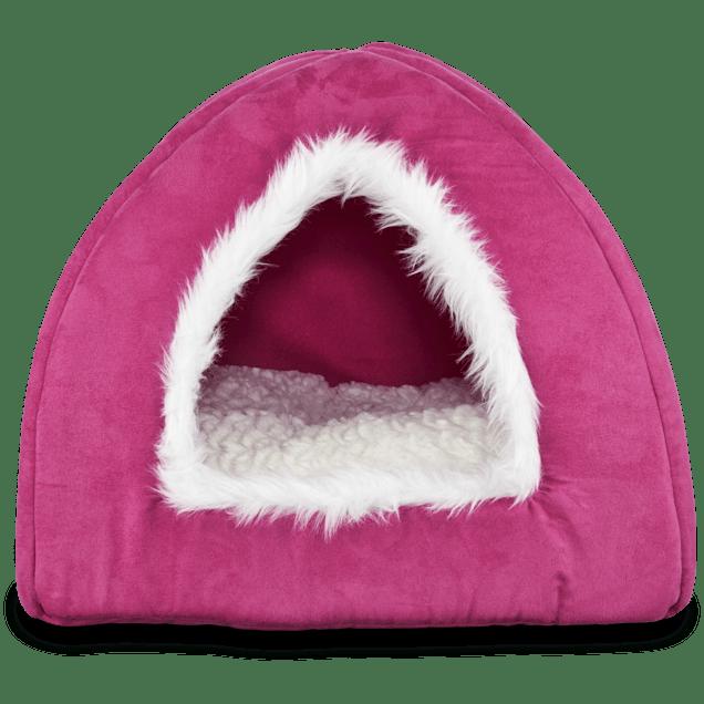 "Harmony Hooded Igloo Cat Bed in Raspberry, 16"" L x 16"" W - Carousel image #1"