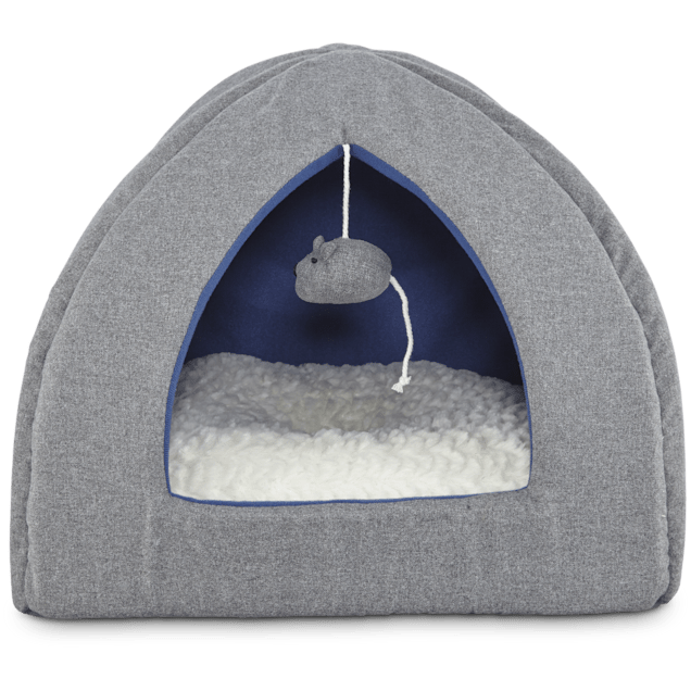 """Harmony Igloo Hooded Cat Bed in Grey, 16"""" L x 16"""" W - Carousel image #1"""