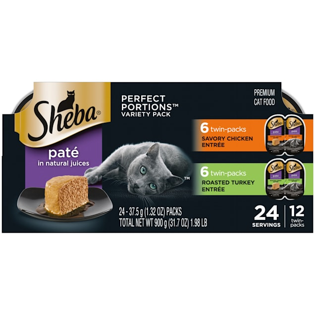 Sheba Perfect Portions Variety Pack Savory Chicken and Roasted Turkey Entrees Wet Cat Food, 2.64 oz., Count of 12 - Carousel image #1