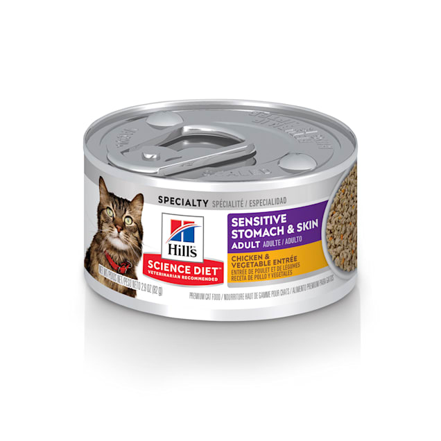 Hill's Science Diet Sensitive Stomach & Skin Chicken & Vegetable Entree Canned Cat Food, 2.9 oz., Case of 24 - Carousel image #1