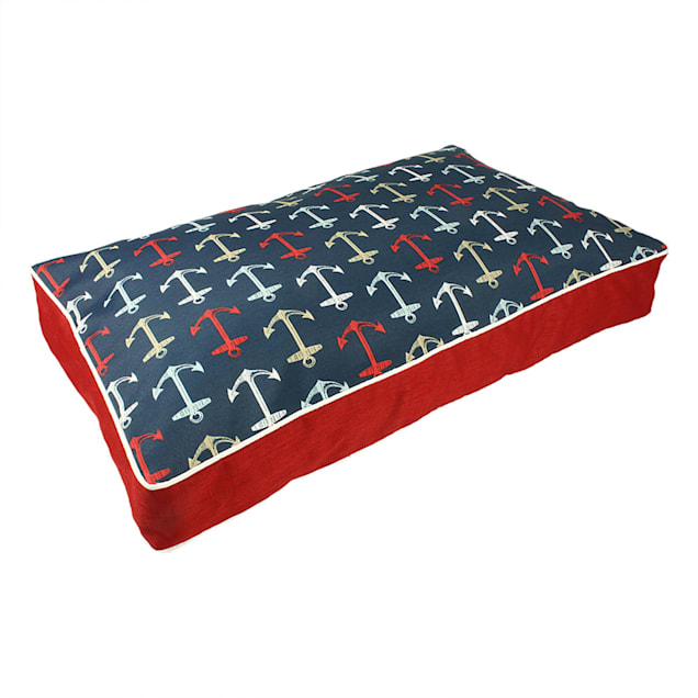 """Snoozer Indoor Outdoor Rectangle Dog Bed in Anchors Pattern, 42"""" L x 24"""" W - Carousel image #1"""
