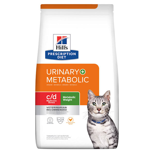 Hill's Prescription Diet Metabolic + Urinary Stress, Weight + Urinary Care Chicken Flavor Dry Cat Food, 6.35 lbs., Bag - Carousel image #1