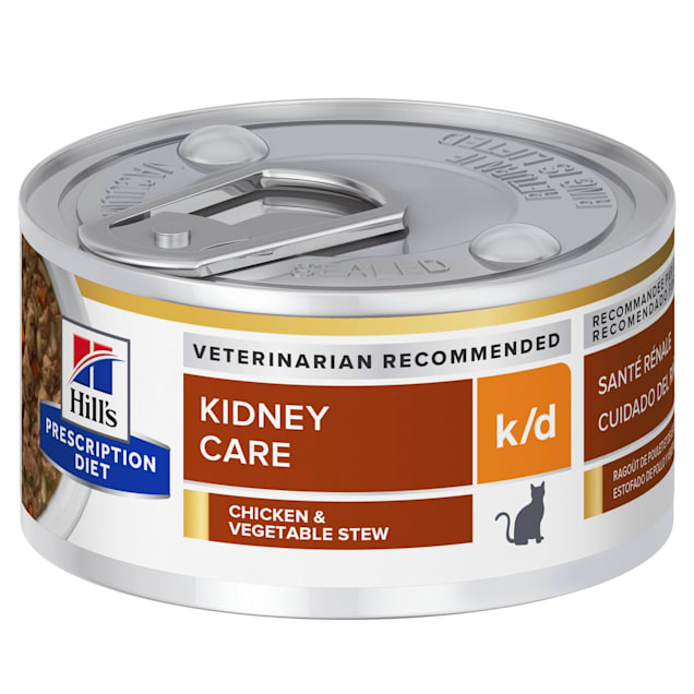 Hill's Prescription Diet k/d Kidney Care Chicken & Vegetable Stew Canned Cat Food, 2.9 oz., Case of 24 - Carousel image #1