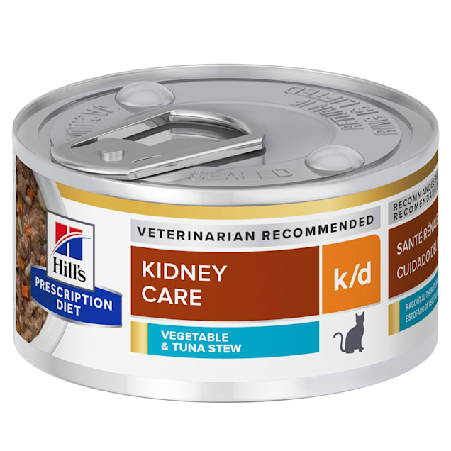 Hill's Prescription Diet k/d Kidney Care Vegetable, Tuna & Rice Stew Canned Cat Food, 2.9 oz., Case of 24 - Carousel image #1