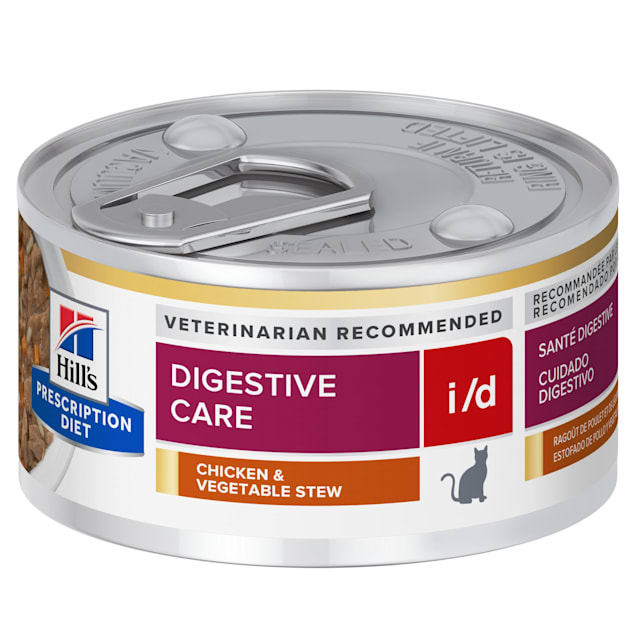 Hill's Prescription Diet i/d Digestive Care Chicken & Vegetable Stew Canned Cat Food, 2.9 oz., Case of 24 - Carousel image #1