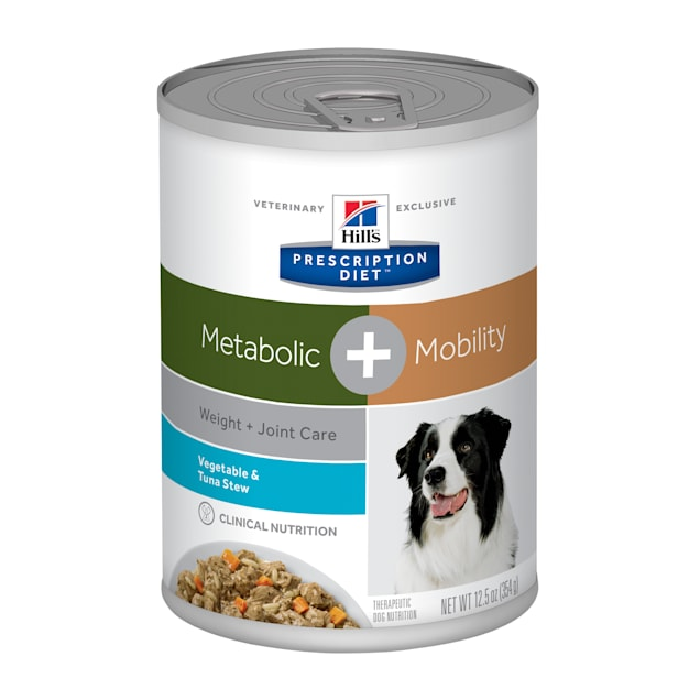 Hill's Prescription Diet Metabolic + Mobility, Weight + Joint Vegetable & Tuna Stew Canned Dog Food, 12.5 oz., Case of 12 - Carousel image #1