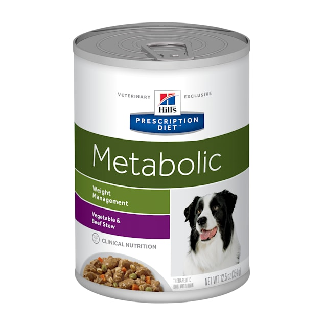 Hill's Prescription Diet Metabolic Weight Management Vegetable & Beef Stew Canned Dog Food, 12.5 oz., Case of 12 - Carousel image #1