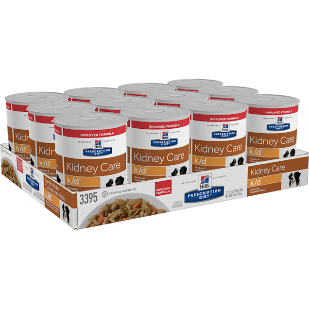 Hill's Prescription Diet k/d Kidney Care Chicken & Vegetable Stew Canned Dog Food, 12.5 oz., Case of 12 - Carousel image #1