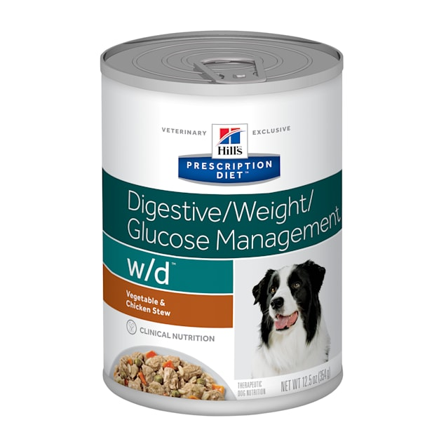 Hill's Prescription Diet w/d Digestive/Weight/Glucose Management Vegetable & Chicken Stew Canned Dog Food, 12.5 oz., Case of 12 - Carousel image #1