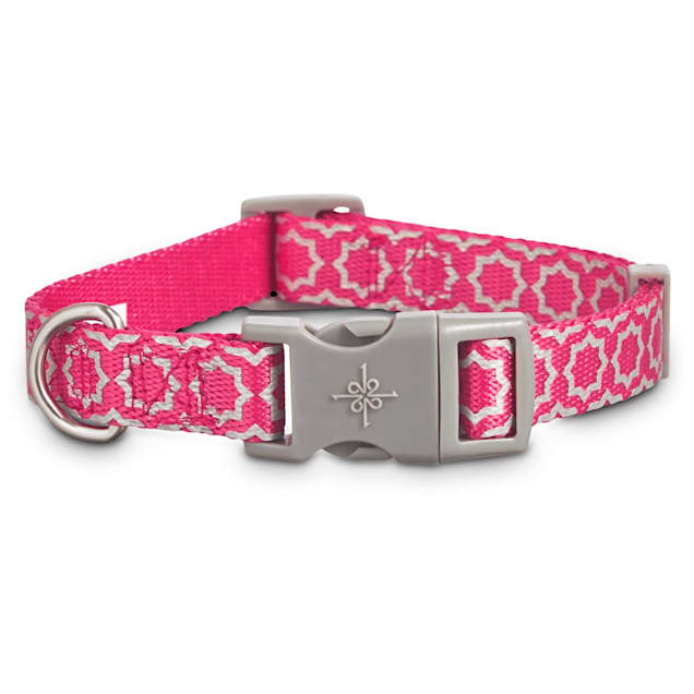 Good2Go Reflective Pink Starburst Dog Collar, Large/X-Large - Carousel image #1