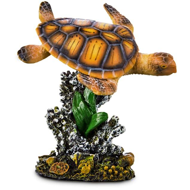 Imagitarium Sea Turtle and Coral Garden Aquarium Ornament, Small - Carousel image #1