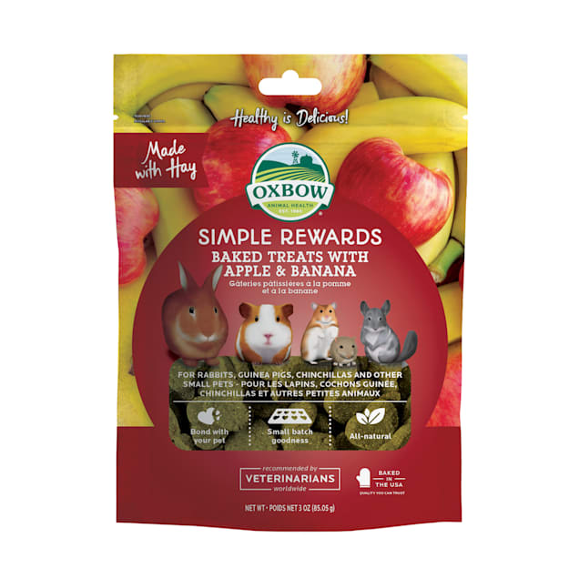 Oxbow Simple Rewards Apple and Banana Baked Small Animal Treats, 3 oz. - Carousel image #1