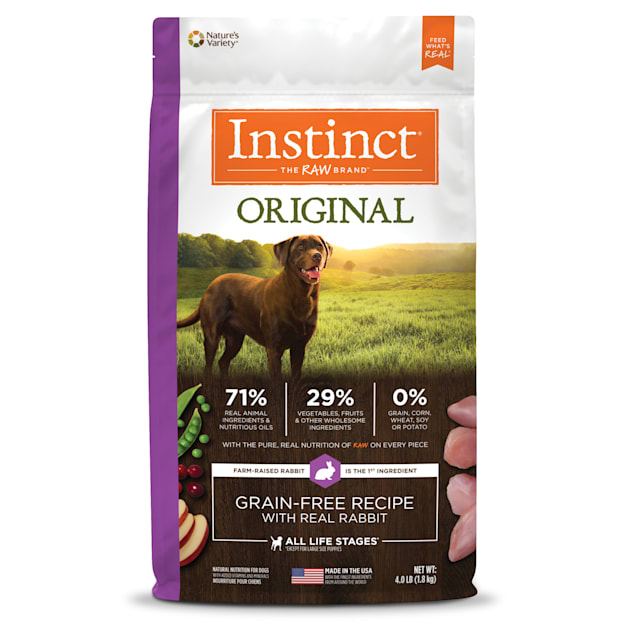 Instinct Original Grain-Free Recipe with Real Rabbit Freeze-Dried Raw Coated Dry Dog Food, 4 lbs. - Carousel image #1