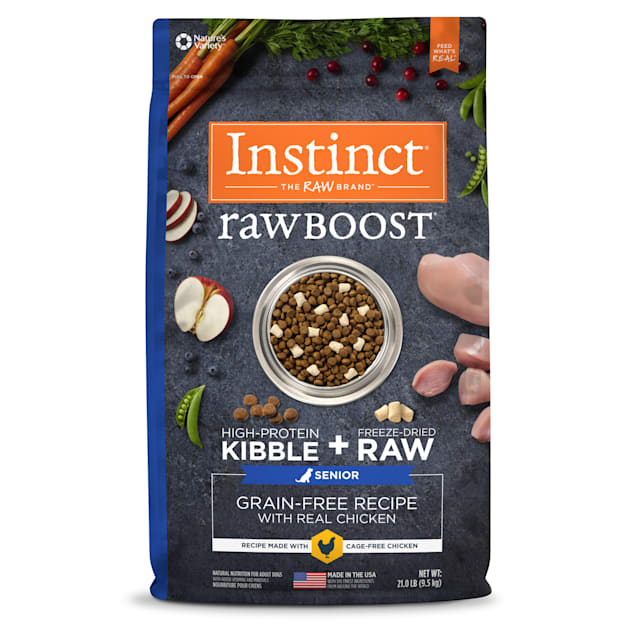 Instinct Raw Boost Senior Grain-Free Recipe with Real Chicken Dry Dog Food with Freeze-Dried Raw Pieces, 21 lbs. - Carousel image #1