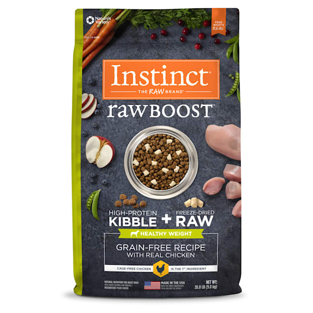 Instinct Raw Boost Healthy Weight Grain-Free Chicken Recipe Dry Dog Food with Freeze-Dried Raw Pieces, 20 lbs. - Carousel image #1