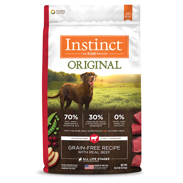 Instinct Original Grain-Free Recipe with Real Beef Freeze-Dried Raw Coated Dry Dog Food, 20 lbs. - Carousel image #1