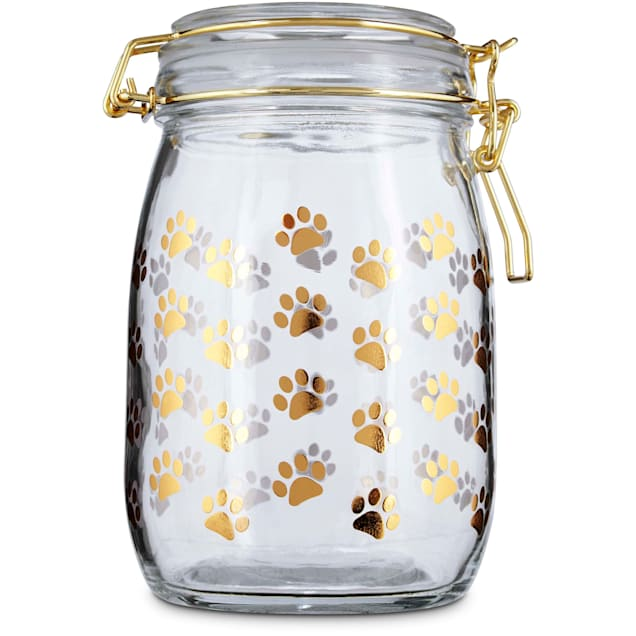 Harmony Gilded Paw Glass Pet Treat Jar, Small - Carousel image #1
