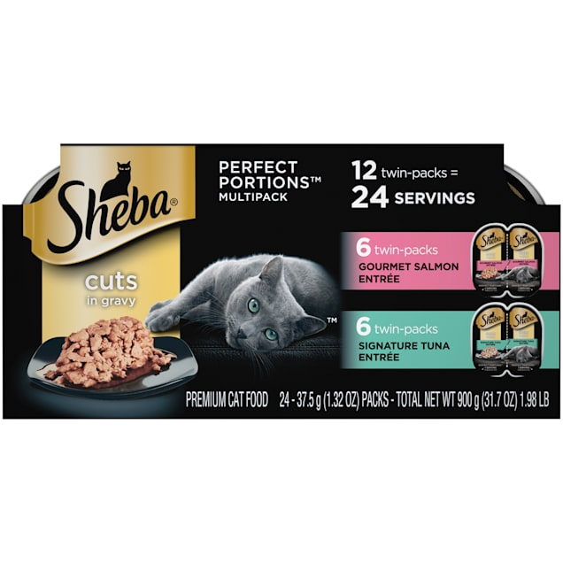 Sheba Perfect Portions Cuts in Gravy Multipack Salmon & Tuna Wet Cat Food, 2.64 oz., 12 Twin Packs - Carousel image #1