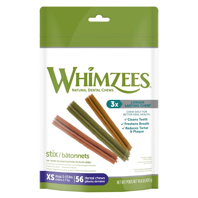 Whimzees Natural Grain Free Extra Small Stix Dental Dog Treats, 14.8 oz. - Carousel image #1