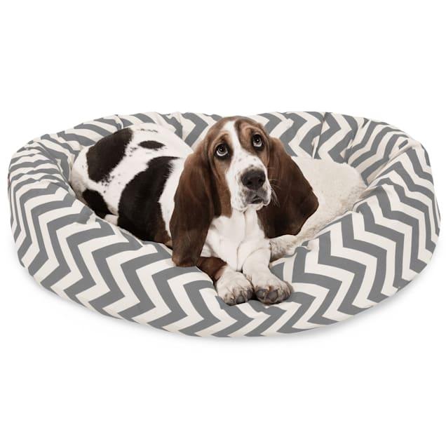 "Majestic Pet Grey Chevron Sherpa Bagel Dog Bed, 32"" L x 23"" W - Carousel image #1"