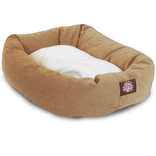 "Majestic Pet Khaki & Sherpa Bagel Dog Bed, 40"" L x 29"" W - Carousel image #1"