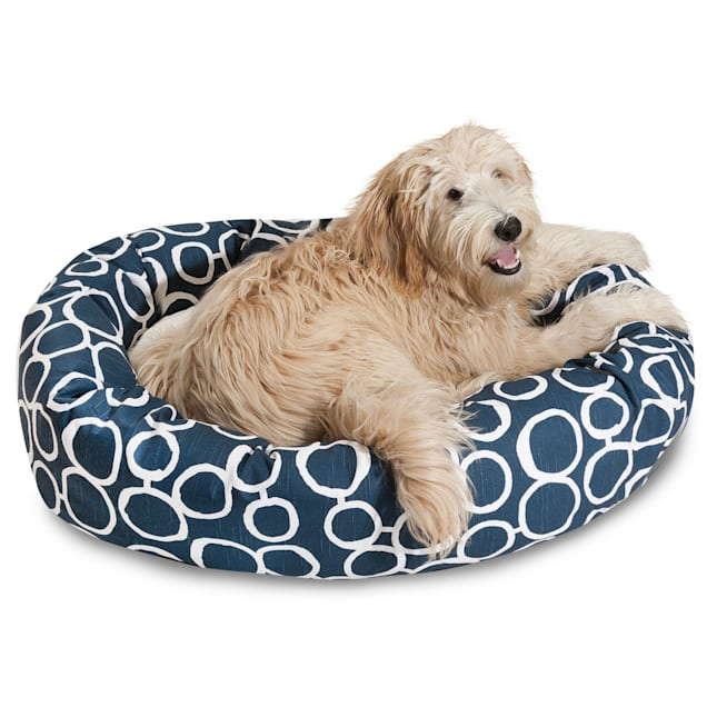 "Majestic Pet Fusion Navy Sherpa Bagel Dog Bed, 40"" L x 29"" W - Carousel image #1"