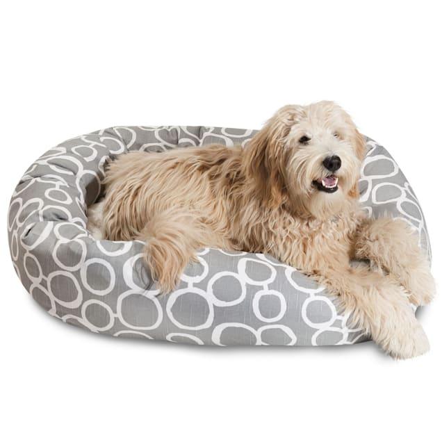 "Majestic Pet Fusion Gray Sherpa Bagel Dog Bed, 40"" L x 29"" W - Carousel image #1"