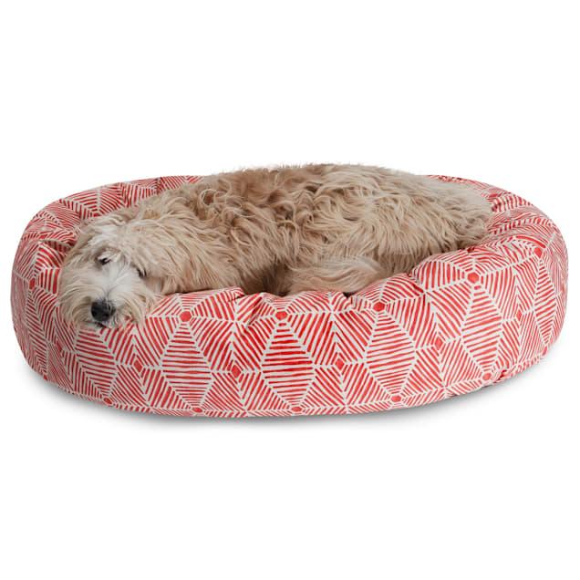 "Majestic Pet Charlie Salmon Sherpa Bagel Dog Bed, 40"" L x 29"" W - Carousel image #1"
