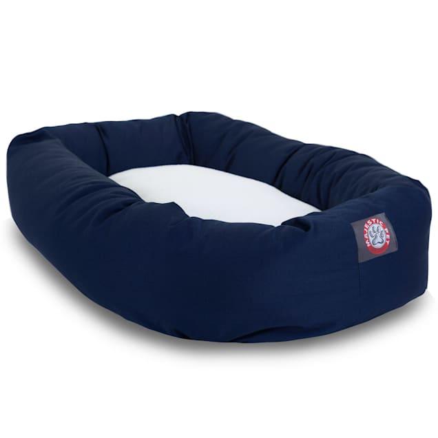 "Majestic Pet Blue & Sherpa Bagel Dog Bed, 40"" L x 29"" W - Carousel image #1"