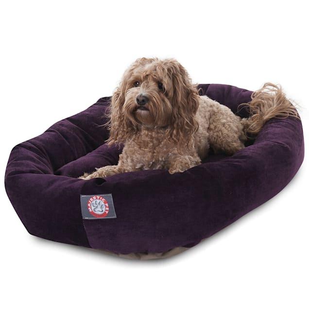 "Majestic Pet Aubergine Villa Collection Micro-Velvet Bagel Dog Bed, 32"" L x 23"" W - Carousel image #1"