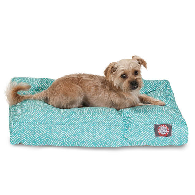 "Majestic Pet Teal Navajo Shredded Memory Foam Rectangle Dog Bed, 44"" L x 36"" W - Carousel image #1"