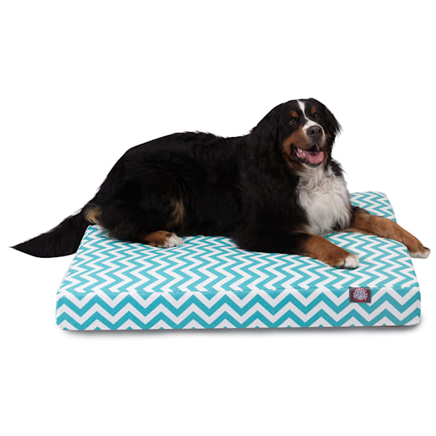 "Majestic Pet Teal Chevron Shredded Memory Foam Rectangle Dog Bed, 44"" L x 36"" W - Carousel image #1"