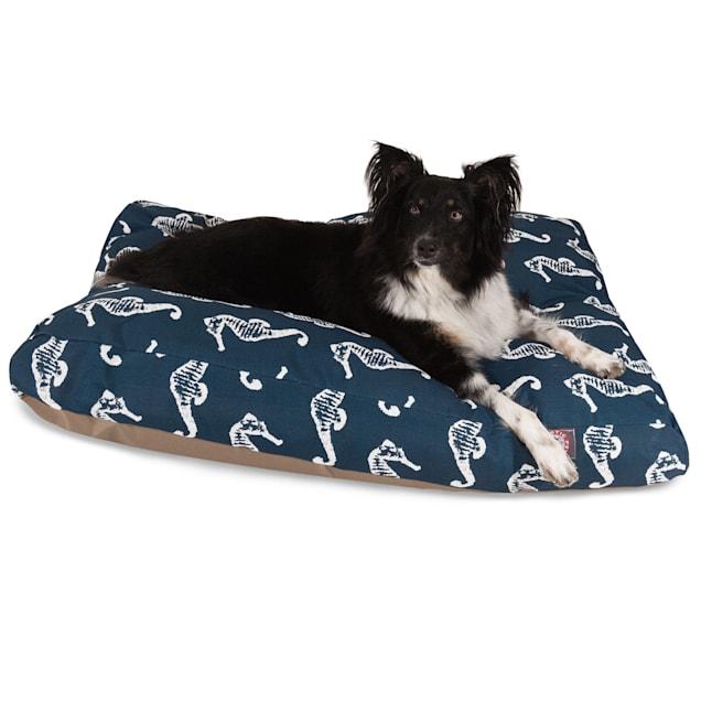 "Majestic Pet Navy Sea Horse Shredded Memory Foam Rectangle Dog Bed, 44"" L x 36"" W - Carousel image #1"