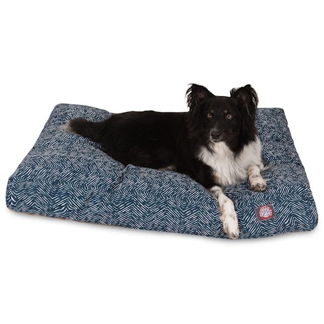 "Majestic Pet Navy Navajo Shredded Memory Foam Rectangle Dog Bed, 44"" L x 36"" W - Carousel image #1"