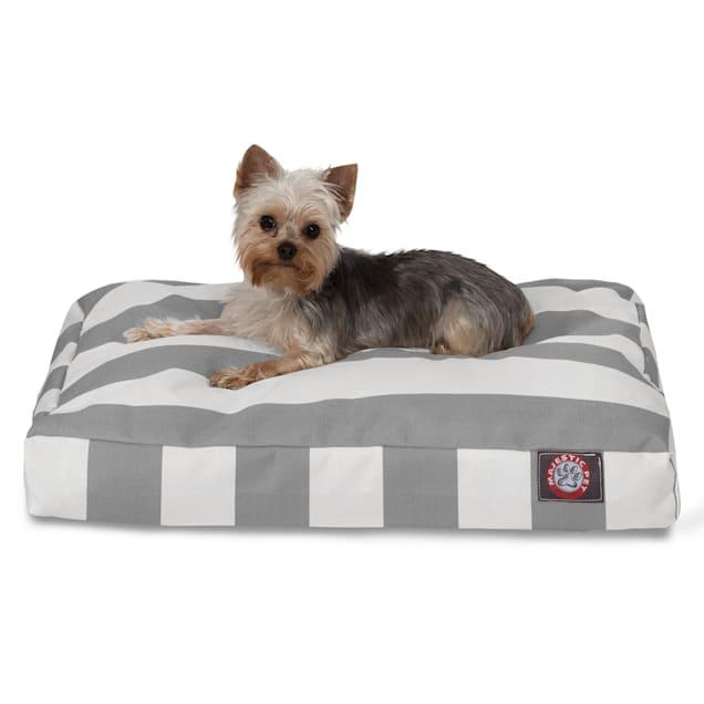 "Majestic Pet Gray Vertical Stripe Shredded Memory Foam Rectangle Dog Bed, 27"" L x 20"" W - Carousel image #1"