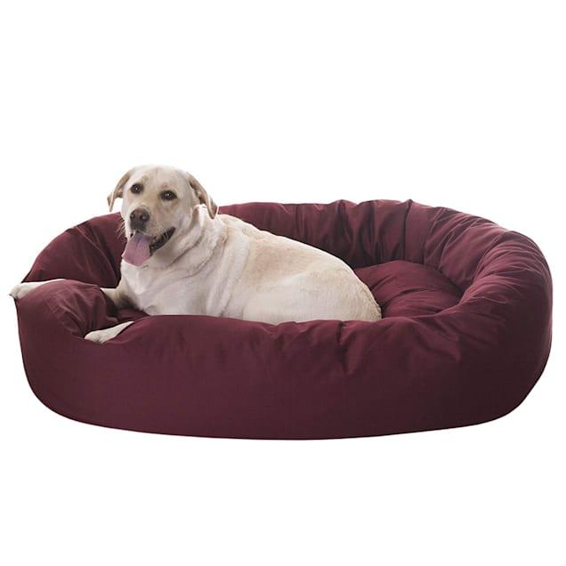 "Majestic Pet Burgundy Bagel Dog Bed, 52"" L x 35"" W - Carousel image #1"