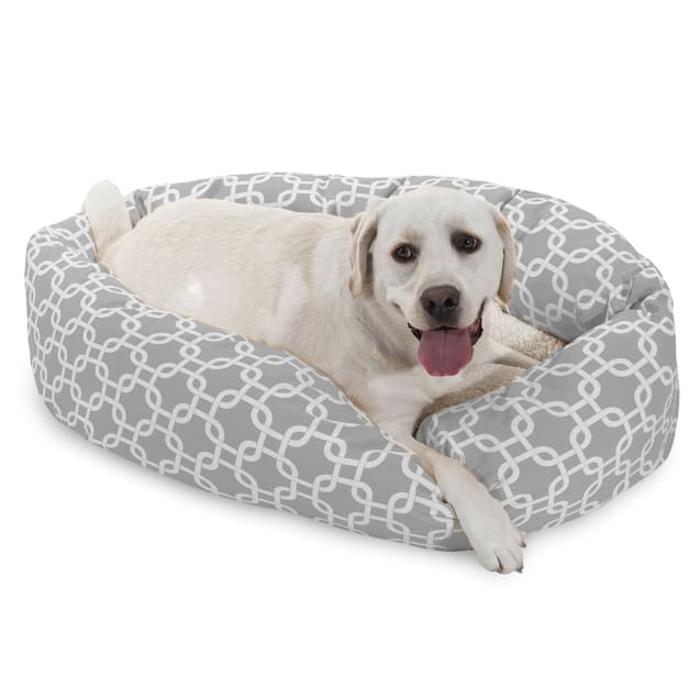 "Majestic Pet Grey Links Sherpa Bagel Dog Bed, 40"" L x 29"" W - Carousel image #1"