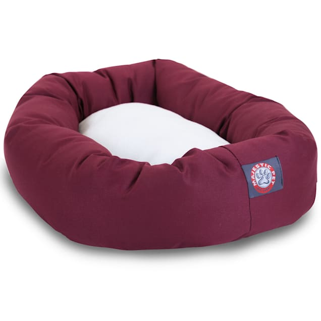 "Majestic Pet Burgundy & Sherpa Bagel Dog Bed, 40"" L x 29"" W - Carousel image #1"