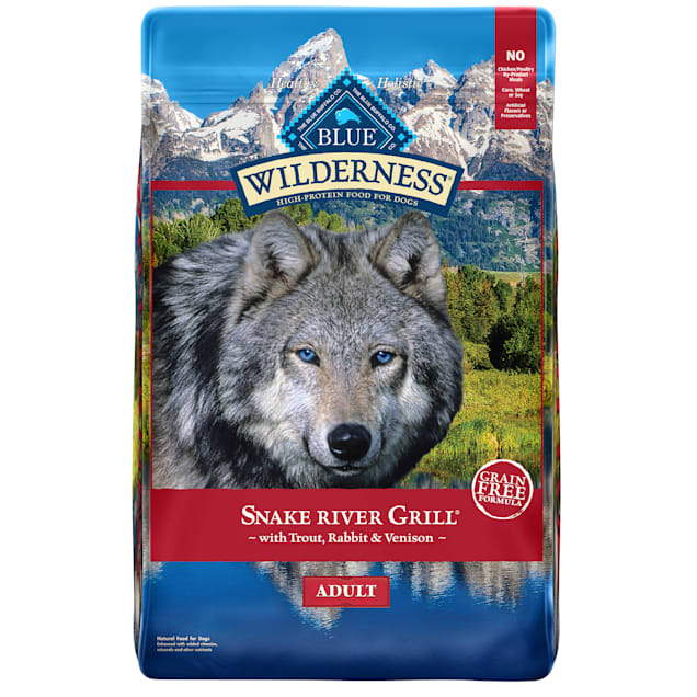 Blue Buffalo Blue Wilderness Snake River Grill Adult Trout, Venison & Rabbit Recipe Dry Dog Food, 22 lbs. - Carousel image #1