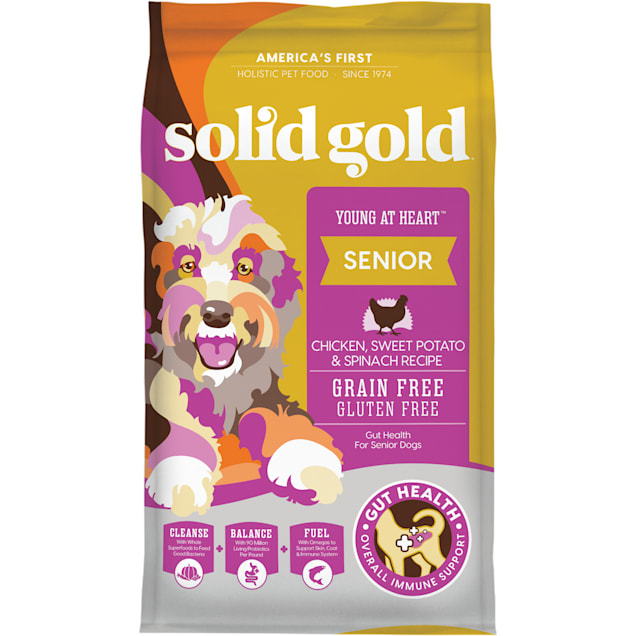 Solid Gold Young At Heart Chicken, Sweet Potato & Spinach Recipe Grain Free Dry Senior Dog Food, 24 lbs. - Carousel image #1