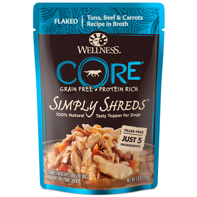 Wellness CORE Simply Shreds Natural Grain Free Tuna, Beef & Carrots Wet Dog Food Topper, 2.8 oz., Case of 12 - Carousel image #1