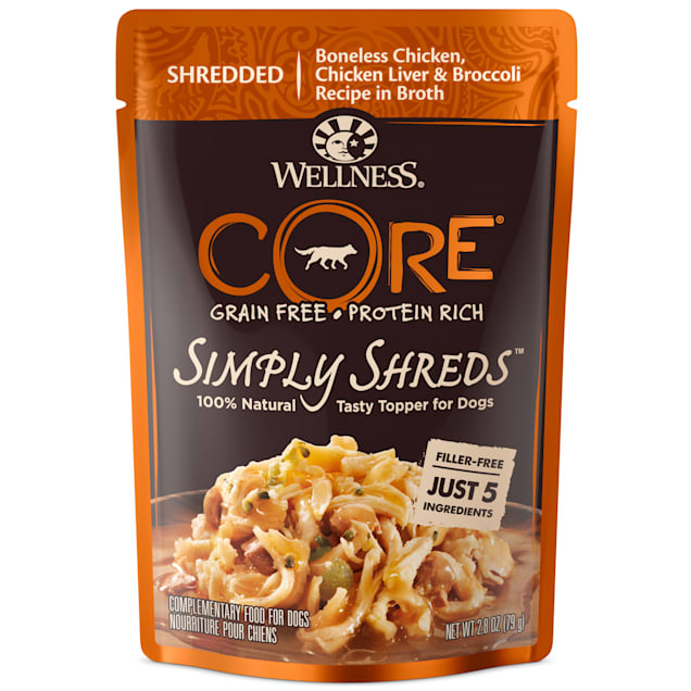 Wellness CORE Simply Shreds Natural Grain Free Chicken, Chicken Liver & Broccoli Wet Dog Food Topper, 2.8 oz., Case of 12 - Carousel image #1