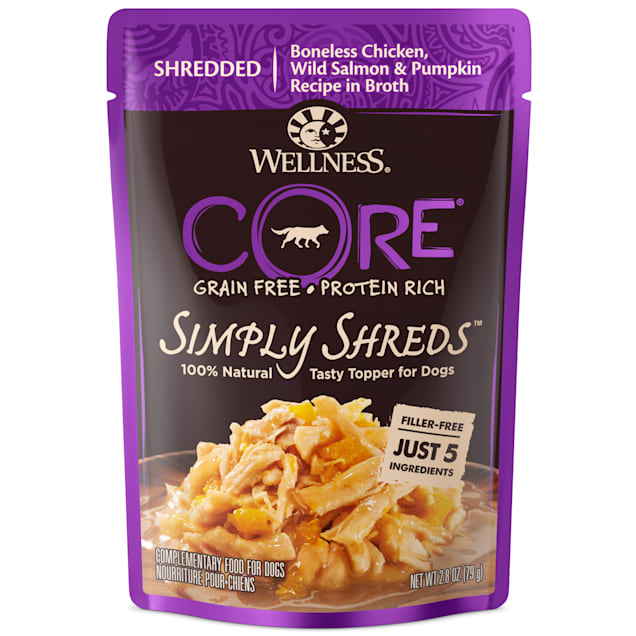 Wellness CORE Simply Shreds Natural Grain Free Chicken, Wild Salmon & Pumpkin Wet Dog Food Topper, 2.8 oz., Case of 12 - Carousel image #1